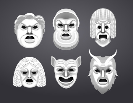 Greek Theatre Mask Set Vector Illustration Cartoon. Vettoriali