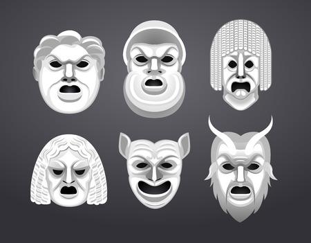 teatro antiguo: Teatro Griego máscara Conjunto de ilustración vectorial de dibujos animados. Vectores