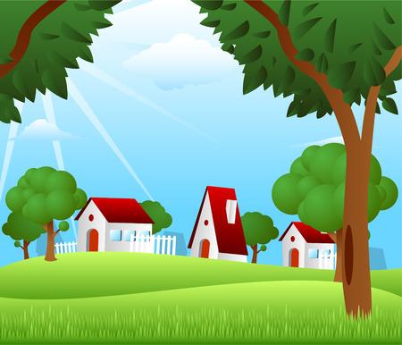 storehouse: Casas de campo rural escena de la granja caba�a refugio almac�n granero Vectores