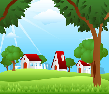 watermill: Countryside houses rural granary storehouse shelter cabin farm scene Illustration
