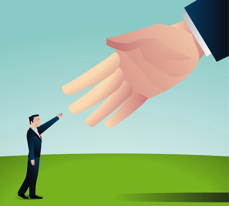 big and small: Handshake between a small businessman and some big shot businessman Illustration