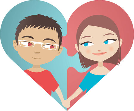 vector illustration of a love puzzle featuring a couple in a heart shape puzzle.