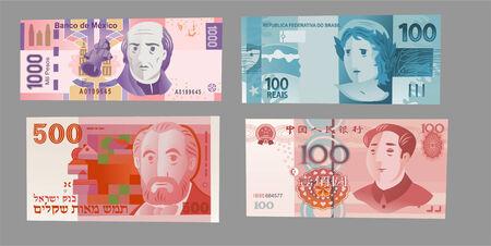 複数の高い通貨のノートはベクトル イラストです。  イラスト・ベクター素材