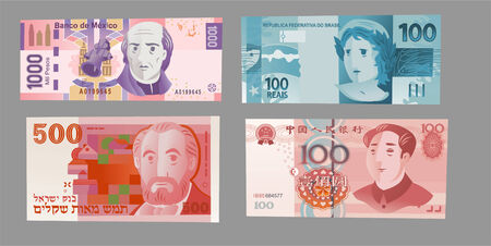 Multiple High Currency Notes vector Illustration.