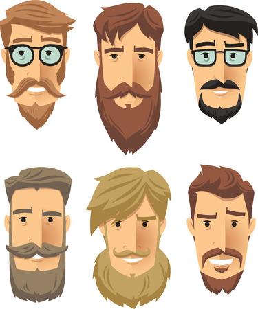 Hipster subculture, beard movement. Vector illustration cartoon. Ilustração