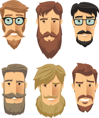 Hipster subculture, beard movement. Vector illustration cartoon. Vettoriali