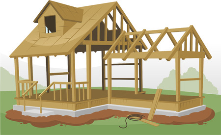 Home Construction Framing Structure, vector illustration cartoon. 向量圖像