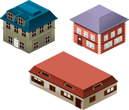 apartment house: Building apartment house construction condo residence tower penthouse collection vector illustration cartoon. Illustration