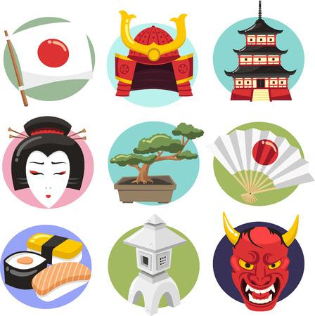 donna giapponese: Giappone Icon Set Icone di stile di vita giapponese, con la donna giapponese, demone, oni, samurai casco, armature di samurai, sushi, geisha, lampada giapponese, lampada, ventilatore, bonsai, tempio giapponese, tempio, lanterna, ventaglio pieghevole. Vector fumetto illustrazione. Vettoriali