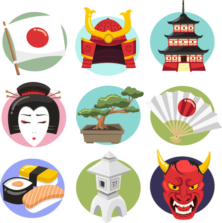 japanese temple: Japan Icon Set Japanese lifestyle Icons, with japanese woman, demon, oni, samurai helmet, samurai armour, sushi, geisha, japanese lamp, lamp, fan, bonsai, japanese temple, temple, lantern, folding fan. Vector illustration cartoon.