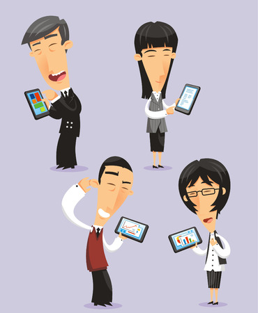 business meeting asian: Gens d'affaires japonais avec des comprim�s �lectroniques, illustration bande dessin�e.