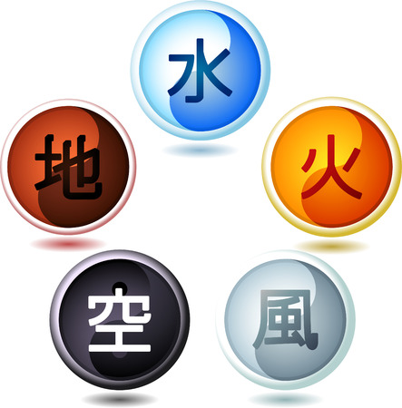 The five Chinese elements, with wood, water, fire, metal and earth drops. Vector illustration cartoon.