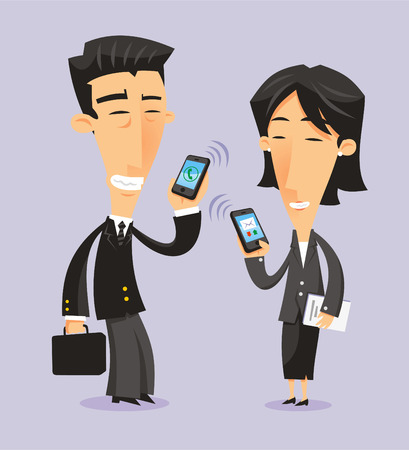 Japanese business people with smartphones, vector illustration cartoon.