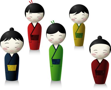 Japanese people doll cartoon illustration