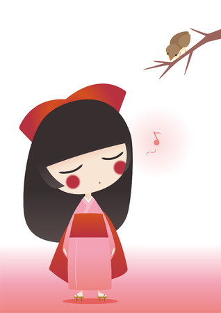 exoticism: japanese girl wearing traditional Kimono singing to a bird.