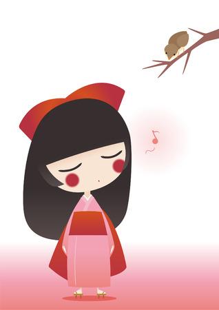 spring balance: japanese girl wearing traditional Kimono singing to a bird.