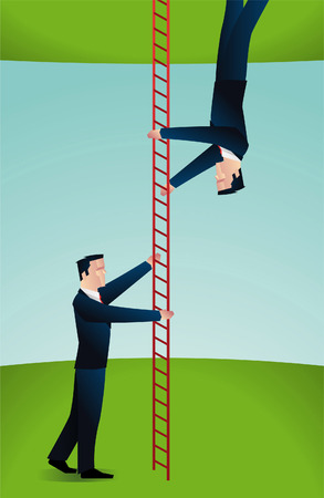 Two businessmen clibing a ladder in different directions.