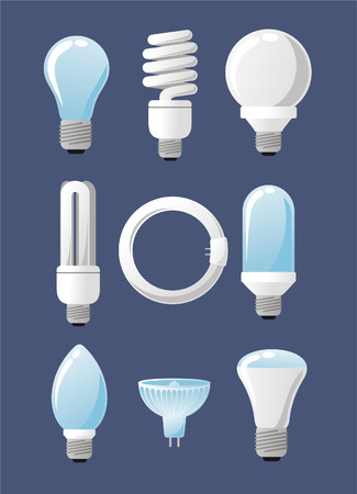 specialty: Light bulb collection set, with Capsules, High Lumen, Globes, Reflector, Specialty and Candles. Vector illustration cartoon.