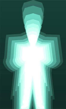 sensory perception: Man Aura Glowing Color, vector illustration cartoon.