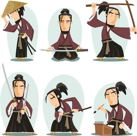 Miyamoto musashi Japanese Samuai Swordsman, vector illustration cartoon. Illustration
