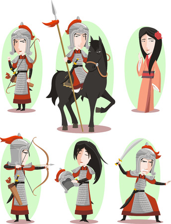Hua Mulan Chinese female hero Traditional Culture, vector illustration cartoon. Vettoriali