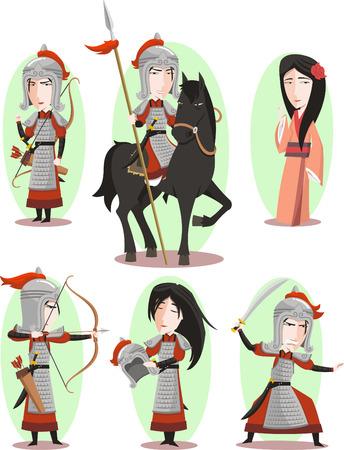 Hua Mulan Chinese female hero Traditional Culture, vector illustration cartoon. Stock Illustratie