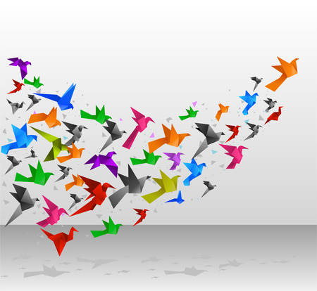 Origami Birds Flying Upwards vector illustration. Ilustração