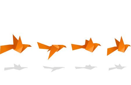 paper folding: Origami Birds Flying Upwards vector illustration. Illustration