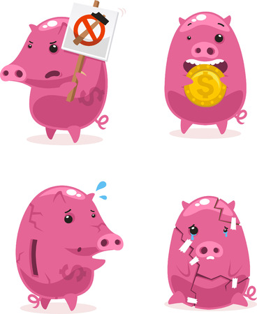 bringing home the bacon: Pink Piggy bank Savings vector illustration.