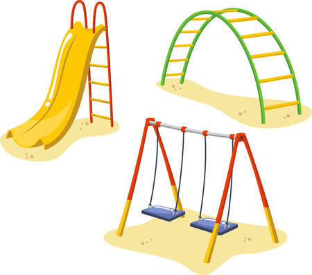 dětské hřiště: Park Hřiště Zařízení nastavena pro děti hrající si stanic, s sáně, tobogán a houpací sítí vektorové ilustrace.