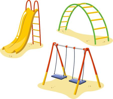 Park Speeltoestellen voor kinderen Spelen Stations, met slee, rodelen en hangmatten vector illustratie. Stock Illustratie
