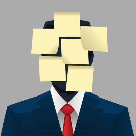 unrecognizable person: Post it head businessman vector illustration. Illustration