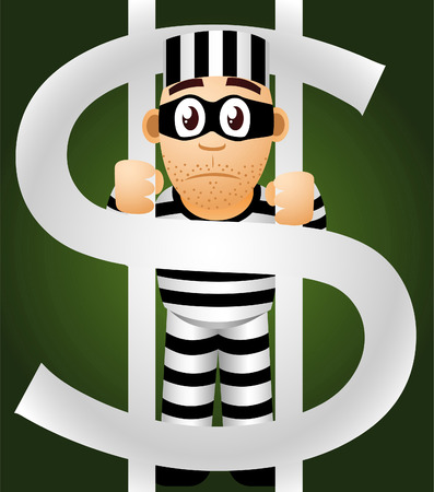 prisoner of money vector cartoon illustration Vector