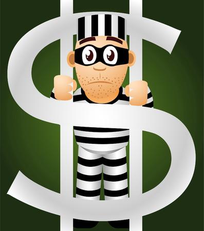 prisoner of money vector cartoon illustration