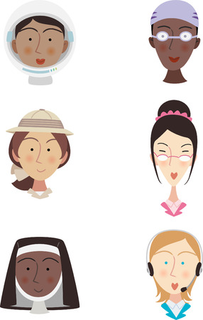 anthropologist: Head and Shoulder professional People Avatar Profile, with astronaut woman, nurse woman, safari woman, posh woman, nun woman, customer service woman vector illustration.