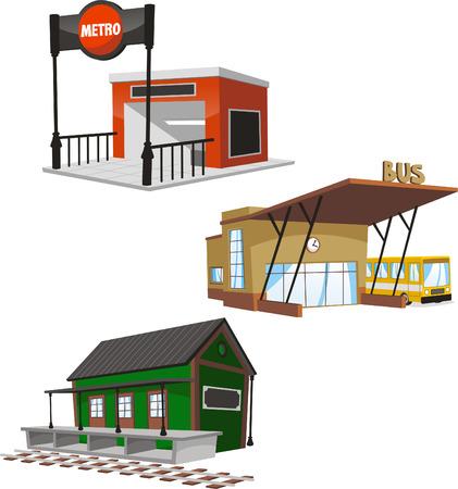 Set van 3 openbaar gebouw set, met inbegrip van een metro, het busstation en een trein terminal. Stock Illustratie