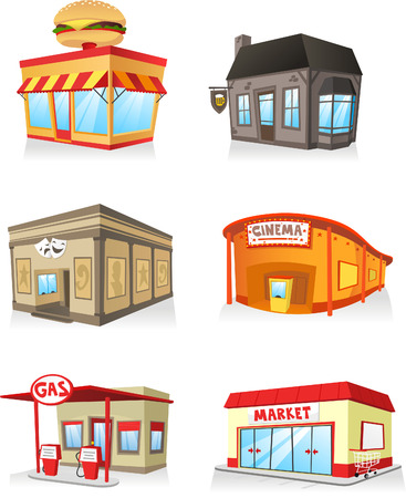 Public building cartoon set, fast food restaurant, cinema, gas station,theatre, bar, super market, market, servide industry. Иллюстрация