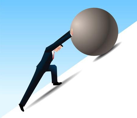 conquering adversity: Venciendo la adversidad empresario empujando una roca cuesta arriba Vectores