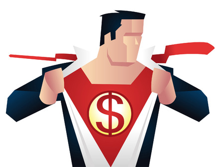 Superhero with dollar sign on his chest, with red superhero costume under blue office working suit vector illustration. Ready to work superhero chairman vector illustration. Çizim