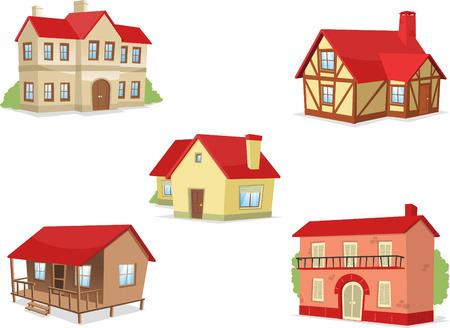 villa: Suburb residential house townhouse villa set vector illustration.