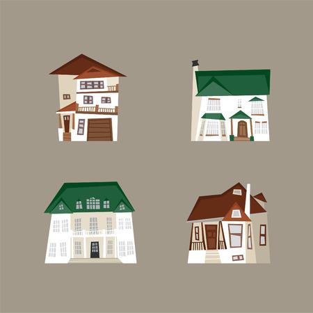 elevated walkway: luxury house vector illustration icon set