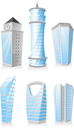 만화 고층 빌딩 타워 마천루 아파트 펜트 하우스 건물 구조 세트 일러스트