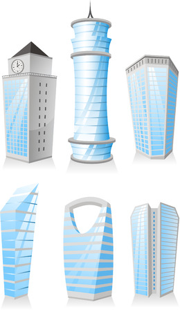 penthouse: Cartoon Wolkenkratzer-Towers Wohnung Penthouse Geb�ude Struktur Set Illustration