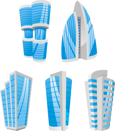 Tall building Business Skyscraper Antenna Tower set vector illustration.