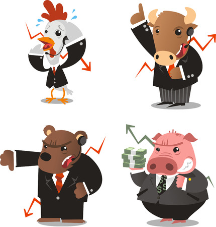 stock: Stock market wall street animals vector illustration.