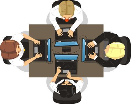 teamwork cartoon: Teamwork People Meeting, vector illustration cartoon. Illustration