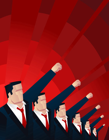We have the power, men holding up their fist vector illustration