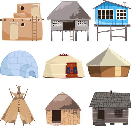 방갈로: 보관 전통적인 집합입니다. 집, 이글루, 오두막, 오두막, 슬럼, 내각, 코 티 지, 오두막, 비치 헛, 전망대, 텐트, 돌 하우스, 비치 하우스, 밀짚, 방갈로, 천막 벡터 일러스트 레이 션. 일러스트