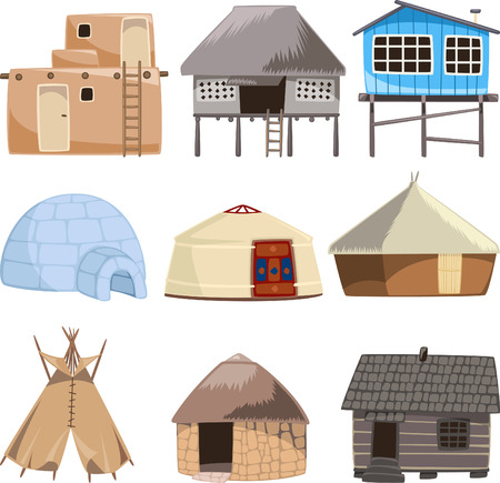 teepee: Set of traditional housed. With House, Igloo, Hut, Shack, Slum, Cabinet, Cottage, Cabin, Beach Hut, Gazebo, Tent, stone house, Beach House, Straw, Bungalow, Teepee vector illustration.