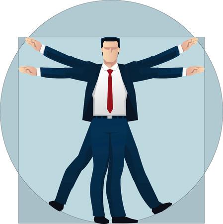 uomo vitruviano: Vitruviano Uomo D'affari illustrazione vettoriale. Vettoriali